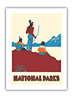 国立公園 - ネイティブアメリカン - ビンテージな世界旅行のポスター によって作成された ドロシー・ワー c.1935 - プレミアム290gsmジークレーアートプリント - 30.5cm x 41cm