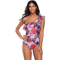 SZIVYSHI One Piece Ruffled Ruffle Hem Asymmetrical One Shoulder Padded Floral Swimwear Swimsuit Bathing Suit Beach Wear Beachwear Swimming Suit Monokini