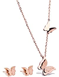 WDSHOW 18k Rose Gold Butterfly Stud Earrings Necklace Set for Women Girl
