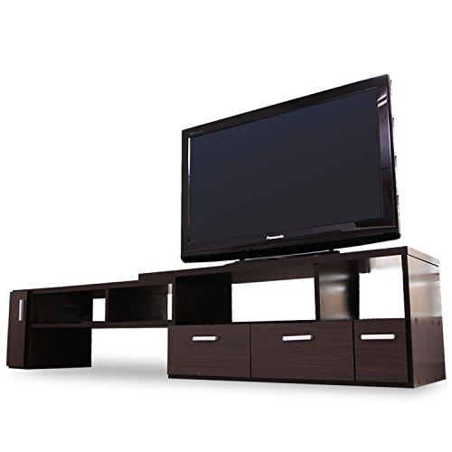 LOWYA (ロウヤ) テレビ台 テレビボード 伸縮 角度自由 コーナー ローボード 50インチ対応 木製 109cm~198cm ブラウン