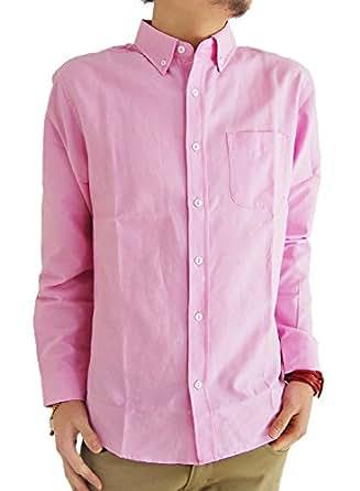 (アーケード) ARCADE 10color メンズ 春 シャツ オックスフォード ボタンダウンシャツ 長袖シャツ カジュアルシャツ M ピンク(レギュラーボタン)