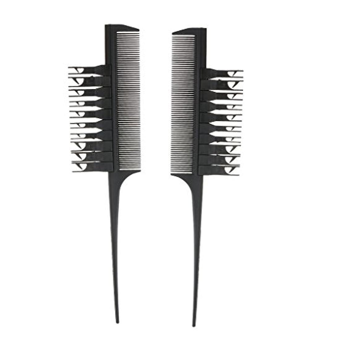 キロメートルゴネリルばかげた2個入り ヘアダイブラシ ヘアカラーリング コーム 櫛 実用的 便利性 (ブラック)