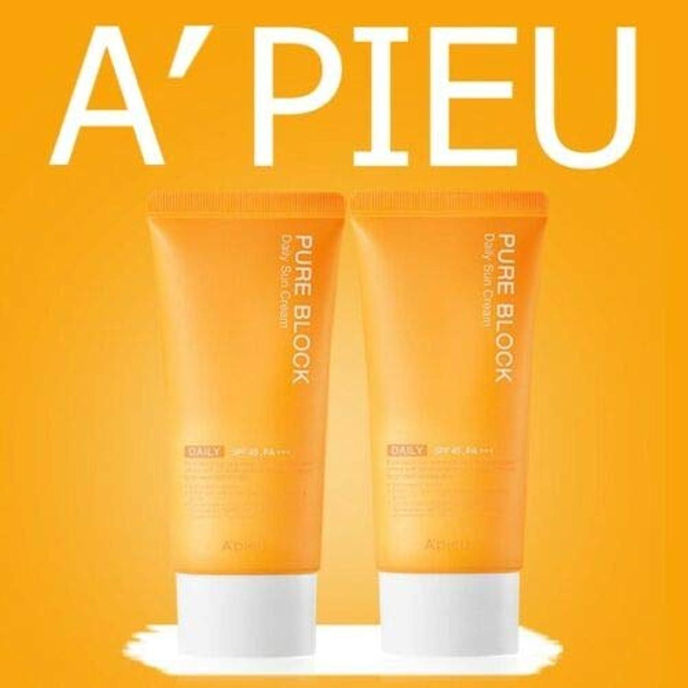 苦味凝視墓地[1+1] オピュ ピュアブロックナチュラル サンクリーム 50ml SPF45/PA+++ APIEU PURE BLOCK Natural Sun Cream
