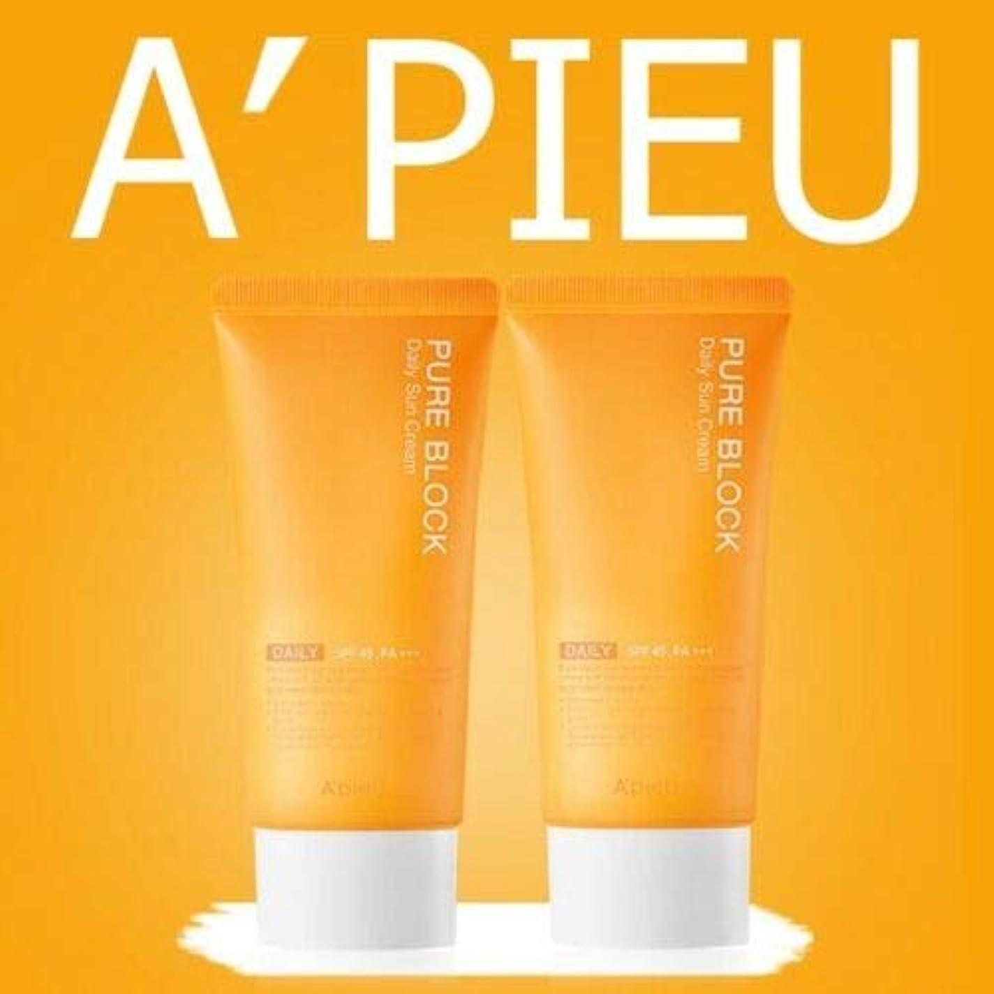 こどもの日病な骨の折れる[1+1] オピュ ピュアブロックナチュラル サンクリーム 50ml SPF45/PA+++ APIEU PURE BLOCK Natural Sun Cream