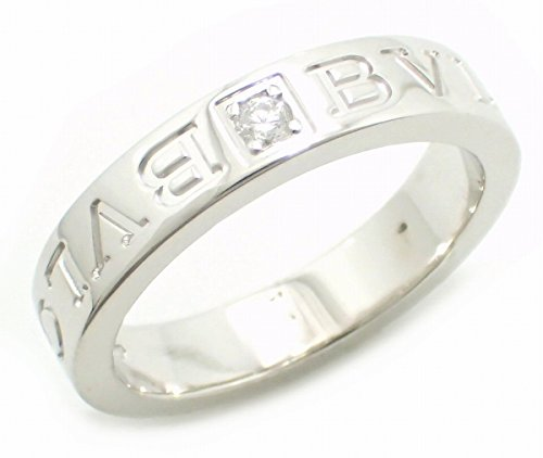 [ブルガリ] BVLGARI ダブルロゴリング 指輪 12号 #12 1Pダイヤ ダイヤモンド K18WG 750WG ホワイトゴールド AN853348