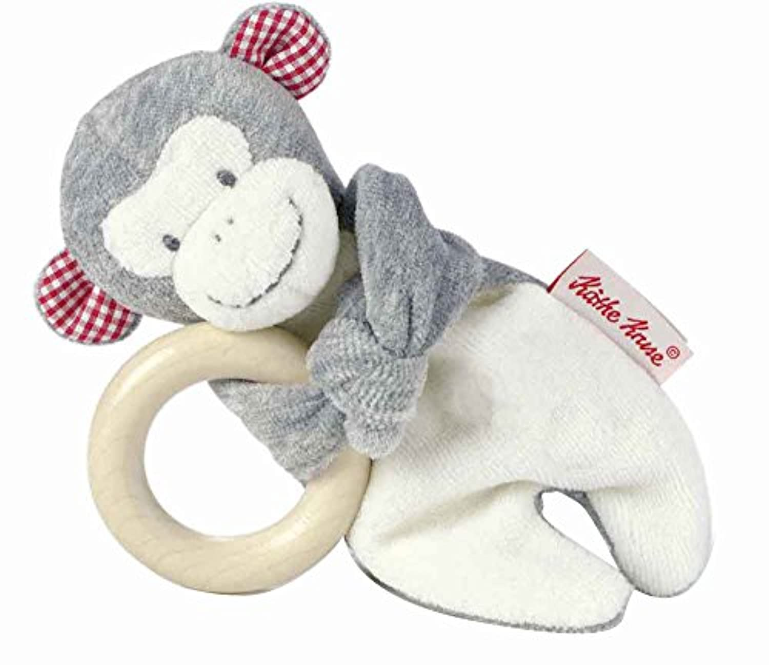 Kathe Kruse Newborn Baby Monkey Carlo Grabbing Toy with Woodenリング