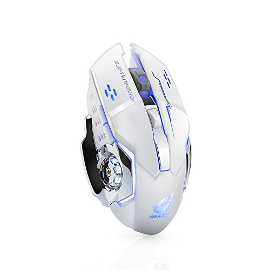 人物ポンプ降雨POOKaa 無料WOLFフリーウルフX8ワイヤレスマウス充電式ミュートデスクトップコンピュータノートブックライト充電ゲームマウス,DPIスイッチのカスタマイズ:800/1200 / 1800dpi。 (ホワイト)