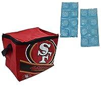NFLショップ折りたたみ式保冷ランチバッグ、再冷凍可能アイスパックセット(サンフランシスコ49ers)