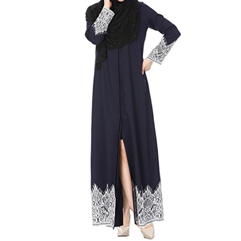 sukeq ClearanceレディースMuslimドレスドバイカフタン長袖ロングドレスAbaya Islamic Clothingガウンjalabiyas S ブルー