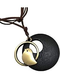 Ruikey 木製の鳥 ペンダント ネックレス レディース ロング ネックレス レディース 人気 ギフト 誕生日 記念日,ブラウン