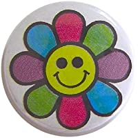 Flower Smile フラワー?スマイル 缶バッジ London ストリート マーケットからc303[イギリス直輸入]