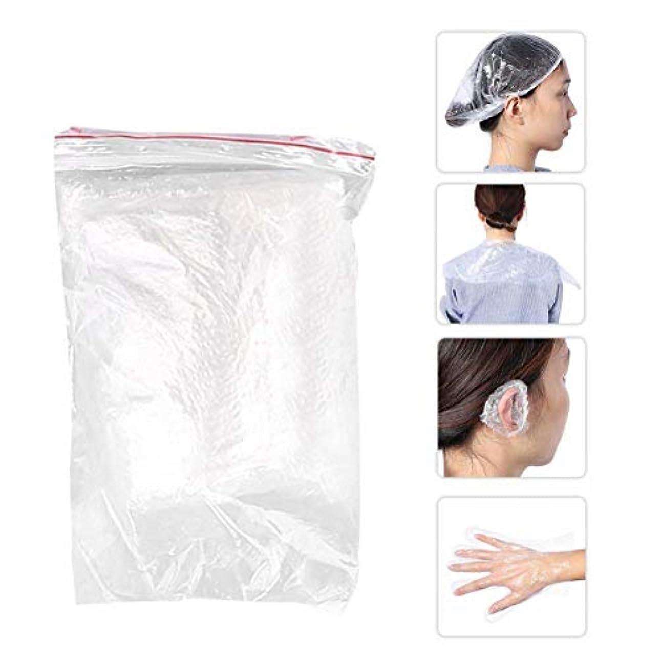 折フレット原理美容用品毛染めツール ショールイヤーマフ手袋シャワーキャップ10セット使い捨てサロン シャワーキャップ耳カバー手袋