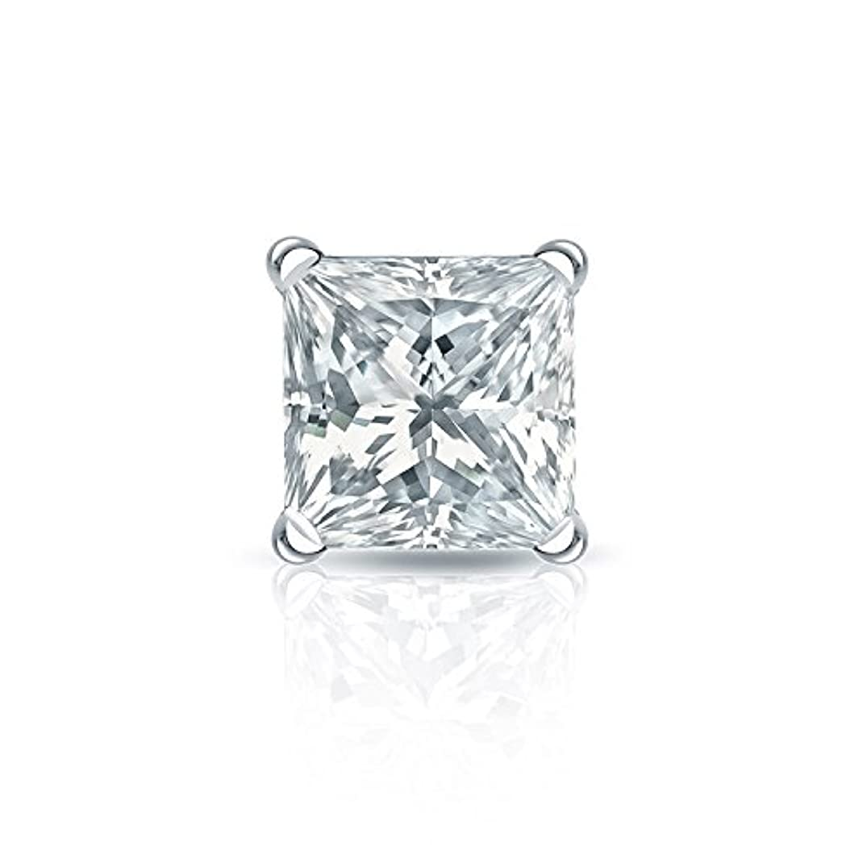 可能予想するチョーク14 Kホワイトゴールド4プロングMartiniプリンセスダイヤモンドメンズシングルスタッドイヤリング( 1 / 8 – 1 CT、Oホワイト、i2 - i3 ) screw-back
