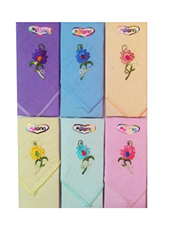 Milano綿刺繍レディースHankies ( 6個)