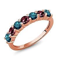 Gem Stone King 1.26カラット 天然 ブルーダイヤモンド 天然 ロードライトガーネット シルバー925 ピンクゴールドコーティング 指輪 リング