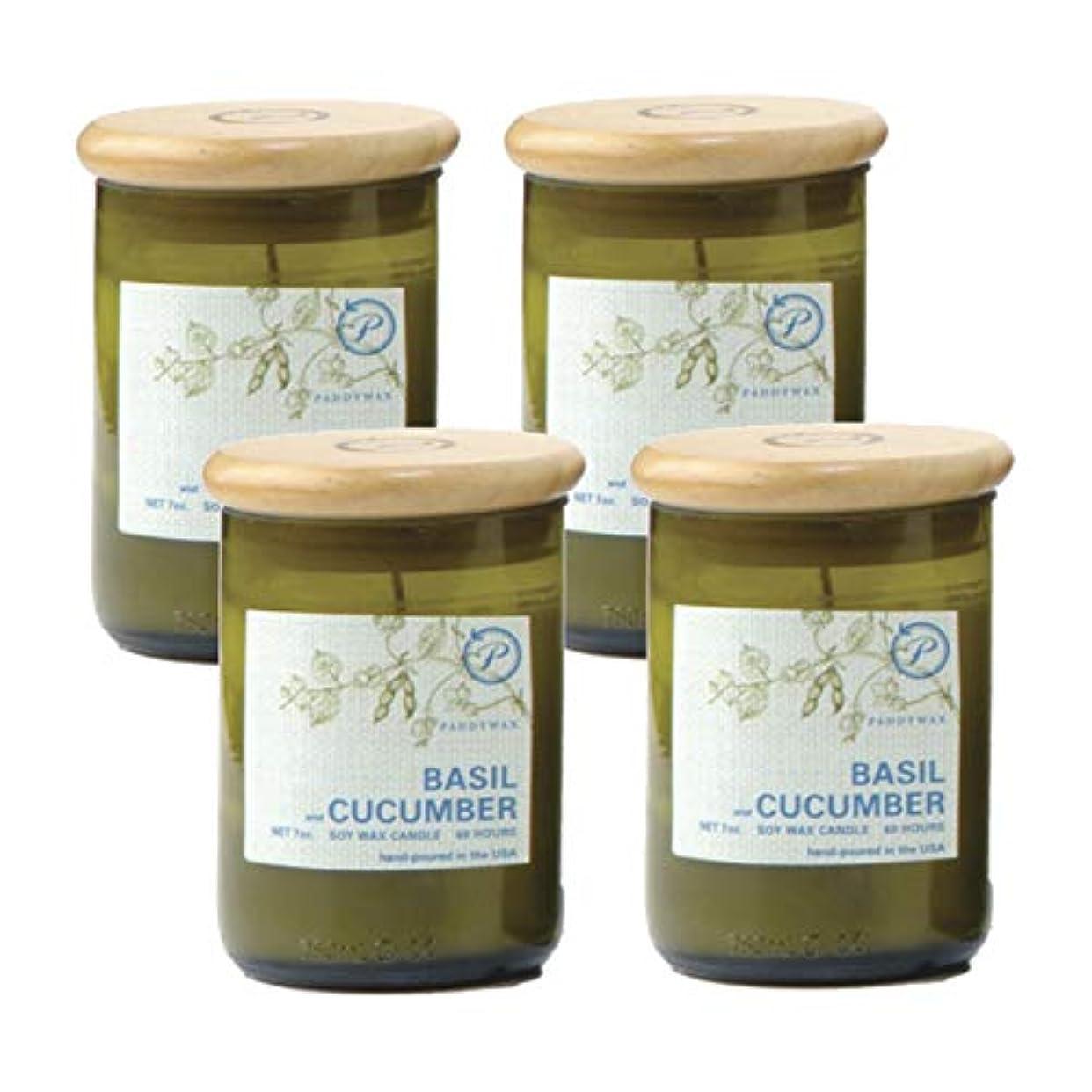 喉が渇いた耐える平和パディワックス(PADDYWAX) ECO GREEN リサイクルグラスキャンドル バジル&キュウリ EG08-4P