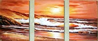 手描き-キャンバスの油絵 - agp0722 triptych シービューペインティング RSSP2 芸術 作品 洋画 -サイズ16