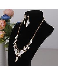 【ノーブランド 品】ヴィンテージ 蝶 水晶 エナメル ペンダント ネックレスとイヤリングセット ホワイト