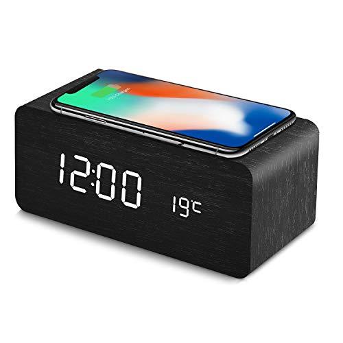 置き時計 QIワイヤレス充電機能 目覚まし時計 アラームクロック USB給電 android iphone 充電器 iPhone8以上対応 音声感知 Fomobest カレンダー付き 温度計 時間記憶 省エネ 明るさ調節 日本語説明書付き (黒)