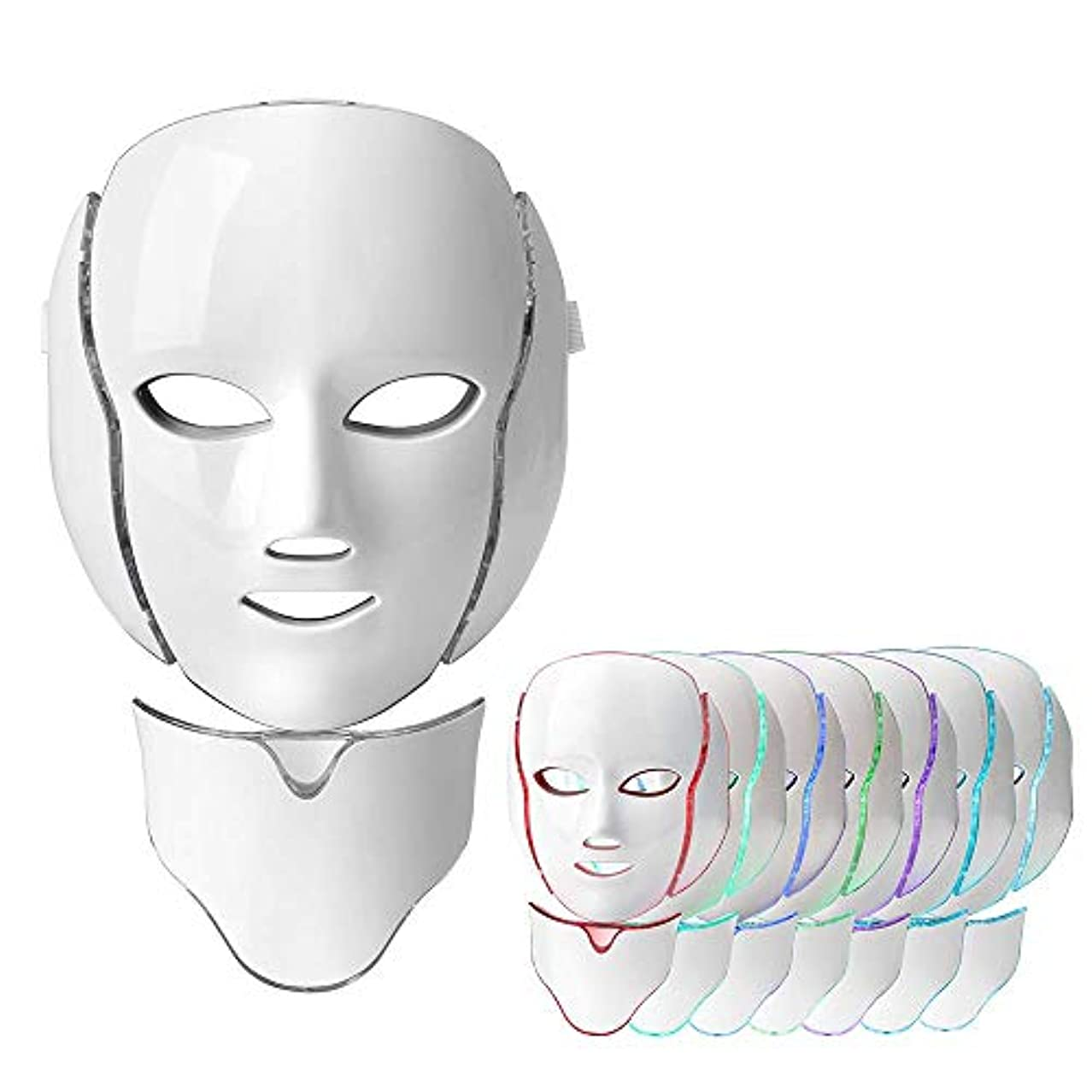 スピンコールドガラガラフォトンセラピーライトセラピーフェイスマスク、マイクロカレント7色ニキビ治療Ledフォトンマスクフェイシャルスキンケアアンチエイジングキット