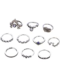 AMdxd 10 Pcs Women Ring Set Crown Buddha Purple Zirconia Midi Ring Silver Vintage Rings Set