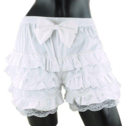 リボン付き ドロワーズ かぼちゃパンツ レースフリル付き drawers-001-07.ホワイト