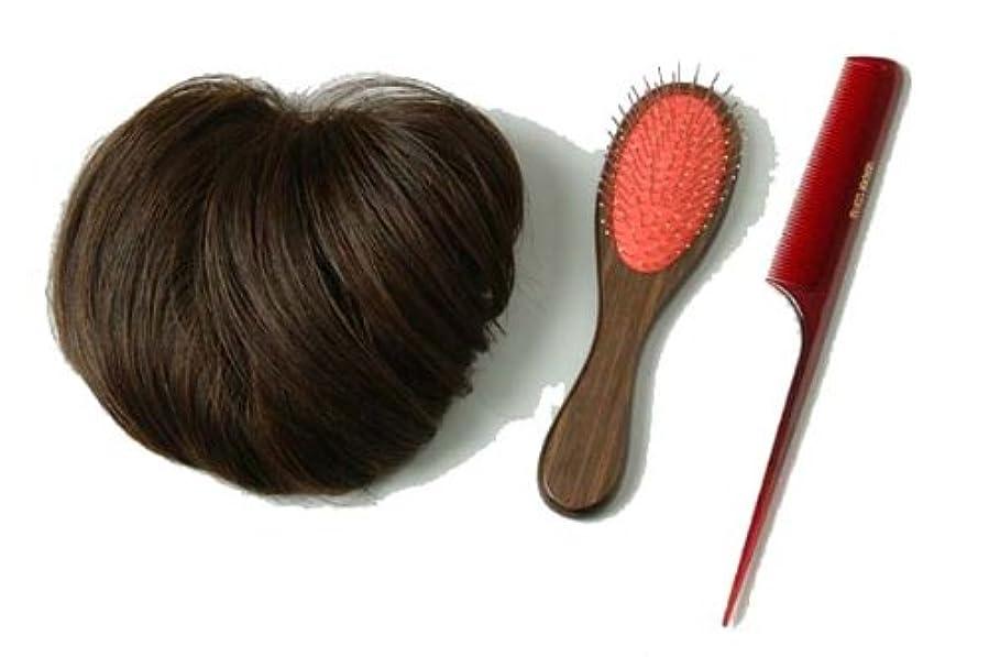 結紮バンド鋸歯状装いヘアピース ブラウン