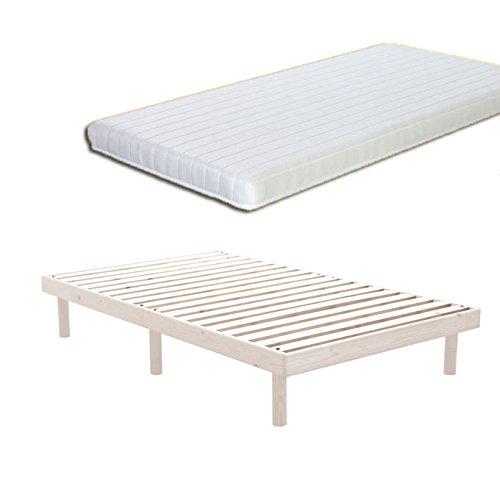 【マットレス付き】 ポケットコイル7色マルチカラー すのこ スノコベッド 無垢 北欧 パイン材すのこ ベッド ホイップホワイト色/ダブル D