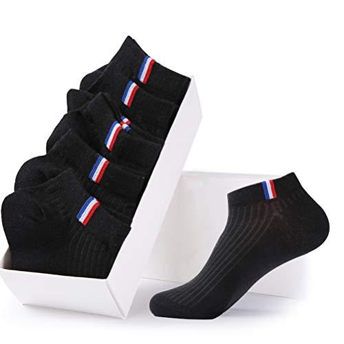 JiaYinShiソックス靴下メンズビジネスコットン通気抗菌防臭コンフォート5足組ブラック