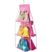 (イホミェ) iHomie不織布 バック収納ラック ハンガーフック式 両面3層 吊り下げ 防ホコリ/透明/掛け可能 小物/洋服/バッグ/ポーチなどの収納  (ピンク)