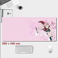 AmityL 拡張ゲーミングマウスパッド、マウスパッド大厚防水マウスマットゲーミングワイド長い機能的な滑り止めゴムベース-ブラック-ナルトアニメデザイン (Color : A, Size : 900mm×400mm)