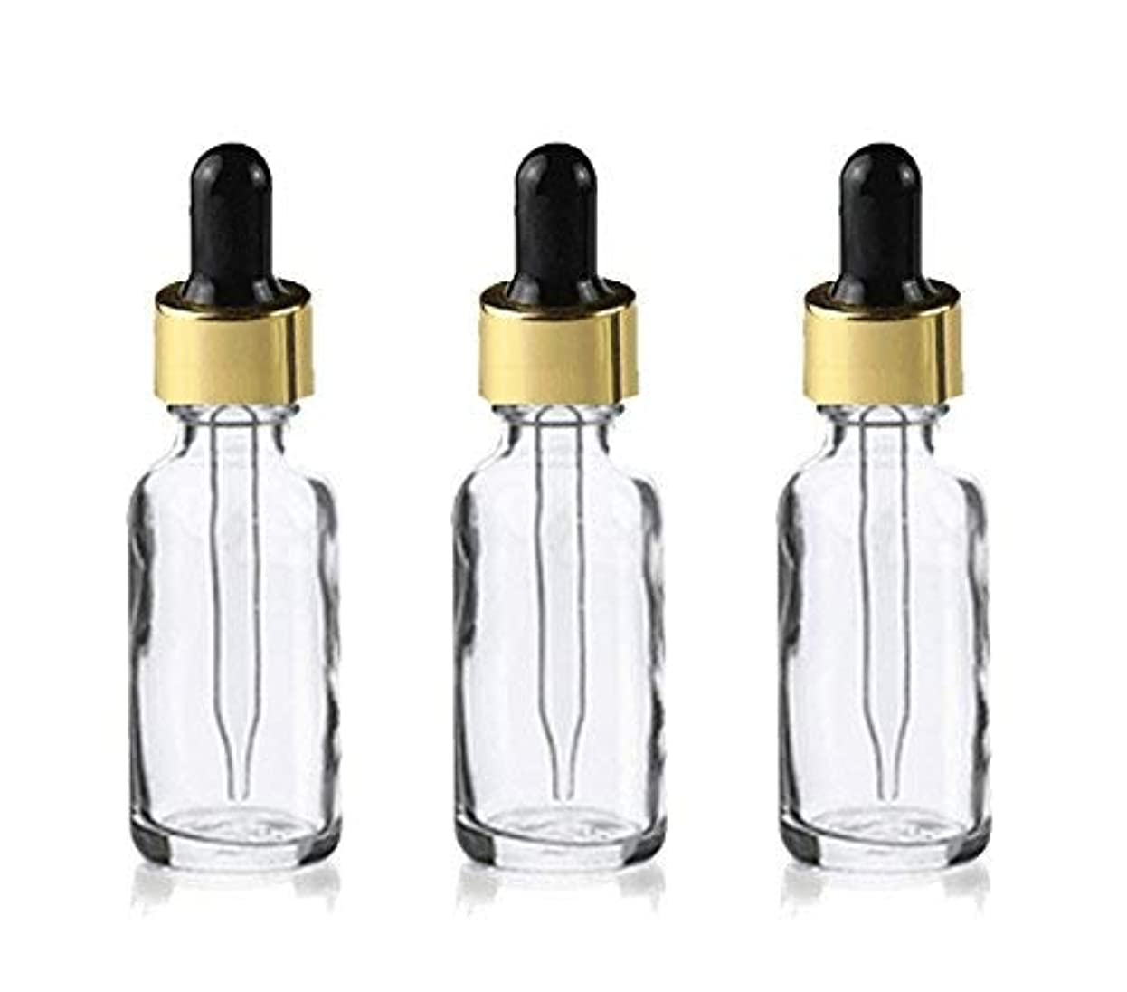 一過性料理をする議会Grand Parfums Upscale 30ml Boston Round Dropper Bottle, Clear Glass with Gold Aluminum Hood and Black Bulb Dropper...