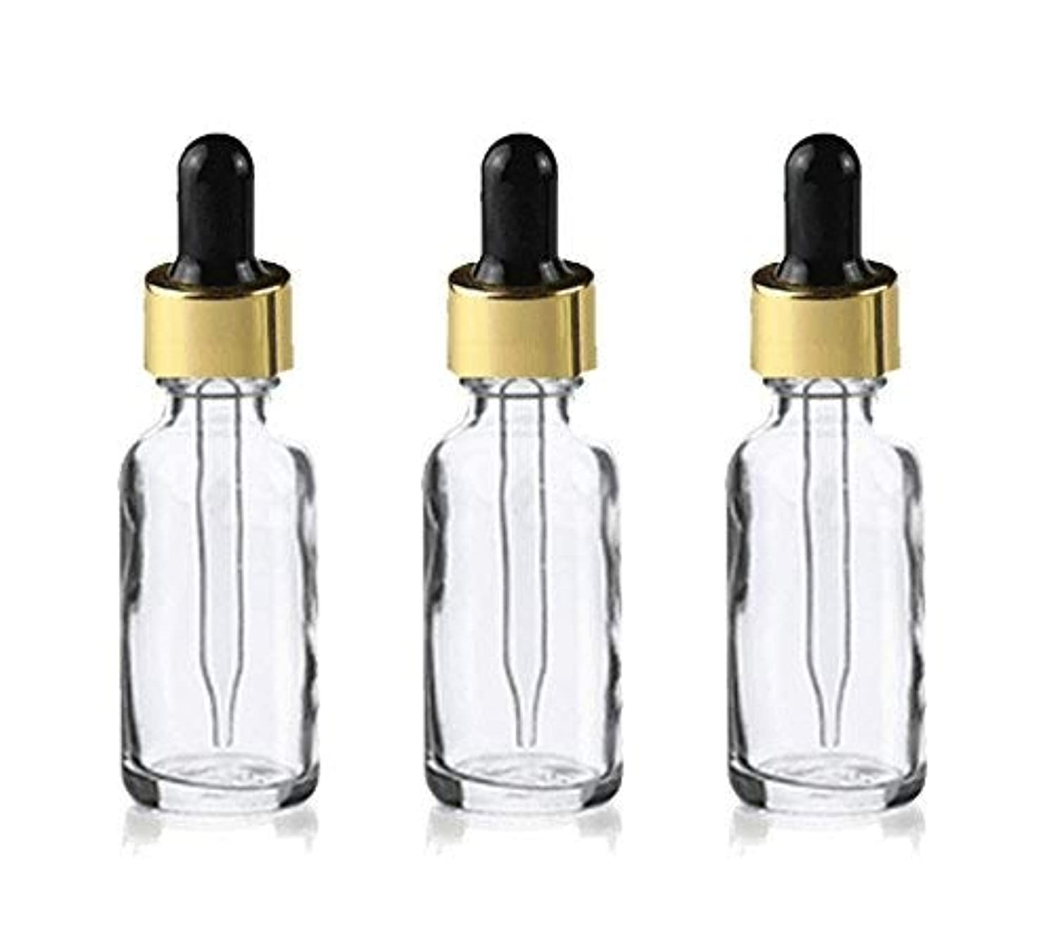 鯨現金認めるGrand Parfums Upscale 30ml Boston Round Dropper Bottle, Clear Glass with Gold Aluminum Hood and Black Bulb Dropper...
