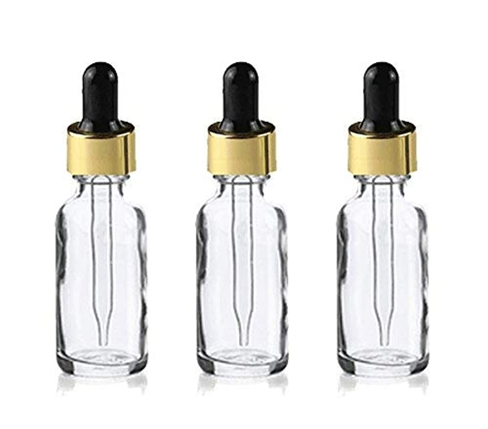 きつく壁チチカカ湖Grand Parfums Upscale 30ml Boston Round Dropper Bottle, Clear Glass with Gold Aluminum Hood and Black Bulb Dropper...