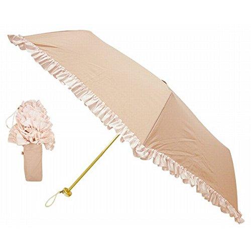 ピンクトリック(pink trick) 【UVケア】レディース折りたたみ傘/雨傘(ボーダーフリル)【ピンク/**】