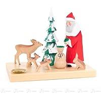 x の深さ 15 cmx12 cmx10 cm の鉱石山のクリスマス図木図の蝋燭 d=14mm の幅 X の高さのために、切り分けられる森林動物を持つサンタクロースおよび木を切り分けます