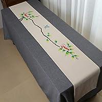 テーブルランナー中国古典的なパターンの手描き綿とリネンブレンドテーブルランナーコーヒーテーブルランナー居間キッチン贅沢な装飾,F_30*210CM