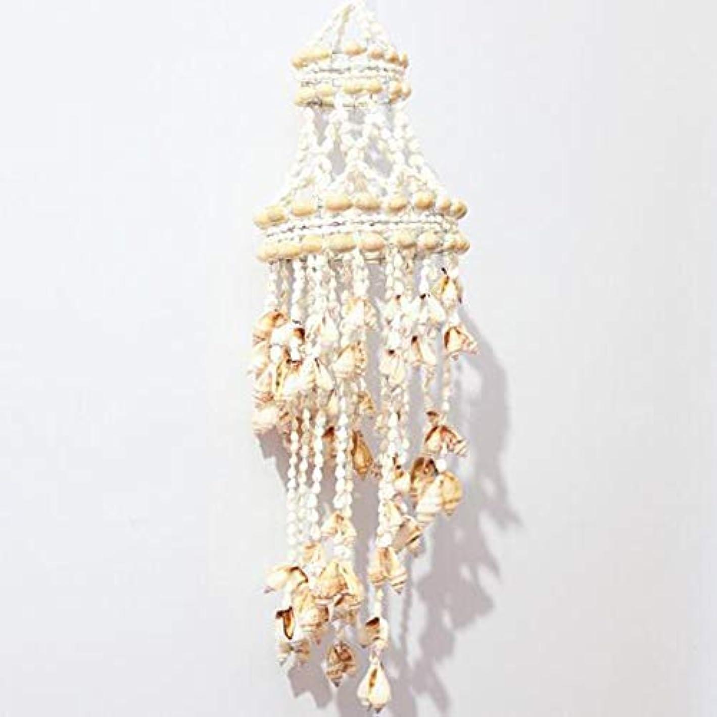 八百屋敵意情熱的Yougou01 風チャイム、ナチュラル手作りシェル風の鐘、ホワイト、約長さ50cm 、創造的な装飾 (Color : A)