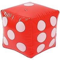 3C Design 大きいサイコロ ジャンボサイコロ 巨大サイコロ 特大サイコロ サイコロ PVC ビニール 軽量 ジャンボ イベント パーティー 30cm レッド 赤