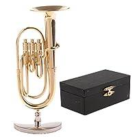 Blesiya 楽器モデル 1:12ミニチュア ドールハウス チューバモデル 銅製 ボックス付き