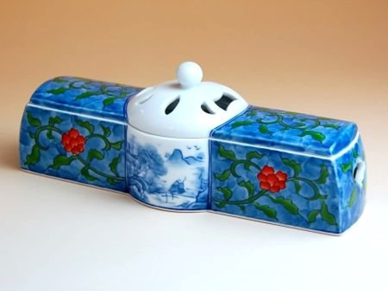 つま先反対するいくつかの有田焼 陶箱外濃花唐草 香炉(木箱付)【サイズ】高さ6.7cm