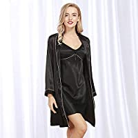 5e142a72b1 Casual Sleepwear Simulation Silk Cardigan Gown Robe Suit Ladies Spring and  Summer Luxury Noble Home Service (Color   Black