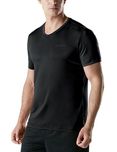 (テスラ) TESLA HyperDri ドライフィット スポーツ シャツ [UVカット・吸汗速乾] アクティブ Cool ドライ ランニング アスリート フィットネス トップ MTS07-BLK_L