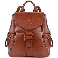 Fanspack Women's Vintage PU Leather Backpack Ladies Casual Shoulder Bag School Bag for Girls