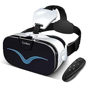 Canbor VRゴーグル VRヘッドセット3D VRメガネ 4.0-6.3インチのiPhone androidなどのスマホ対応 Bluetoothコントローラ付き