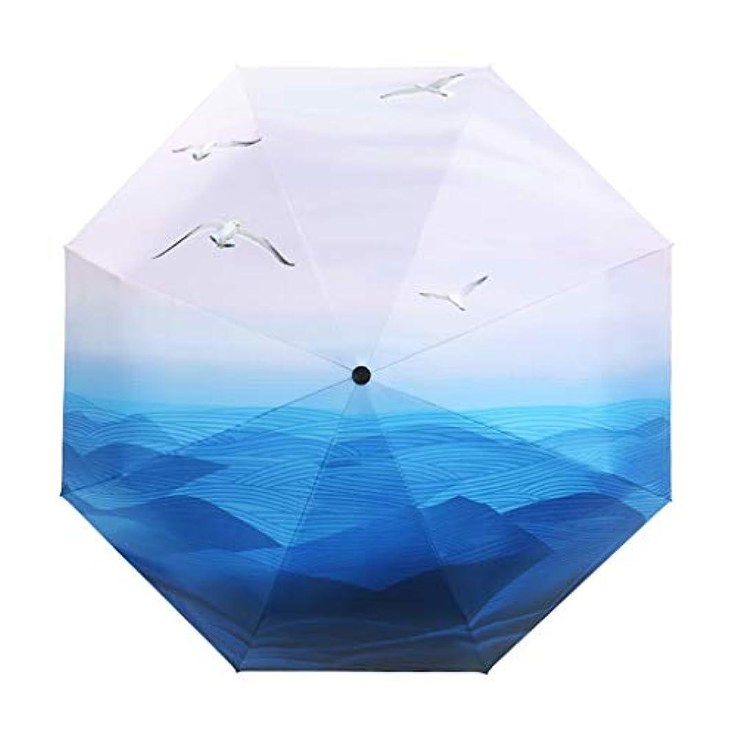 証人検索エンジンマーケティング領収書ZEZHOU フルオートマチックの日傘、1ボタンスイッチ防風雨よけ日焼け止めUV保護UPF50 +(青と白)