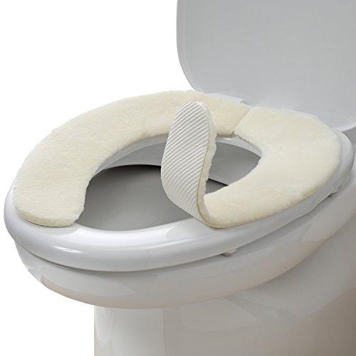サンコー ズレない トイレ 便座 カバー アイボリー 無地 ...