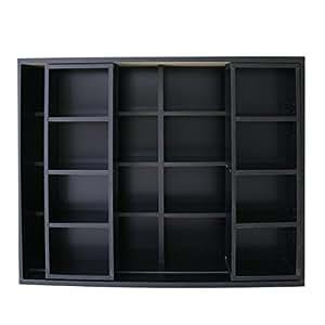 クロシオ ダブルスライド マルチ収納 奥深タイプ本棚 ブラック 幅120cm