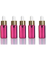 10 Pink Sets Assorted 5ml UV Coated Glass Dropper Bottles Grand Parfums Refillable Medicine Dropper Bottles with...