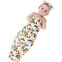 (コ-ランド) Co-land ベビー 赤ちゃん 寝袋 おくるみ フリース ブランケット 新生児 着る毛布 睡眠袋 幼児 可愛い 花柄 ヘッドバンド 2点セット グリーン